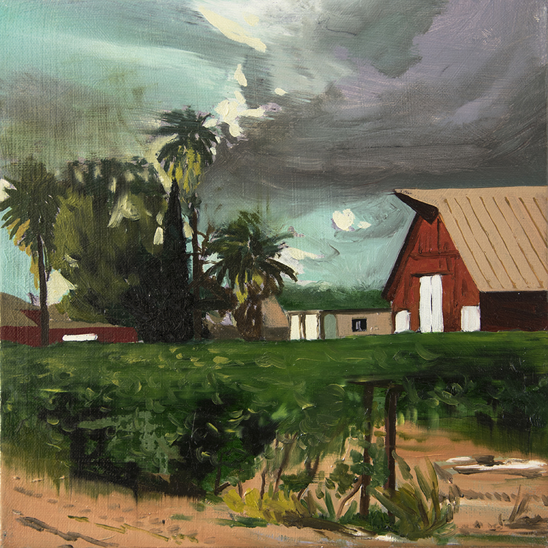 A RANCH AFTER A HURRICANE, 2016 oil on canvas, 30 x 30 cm